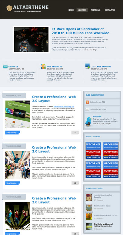 altair wordpress theme