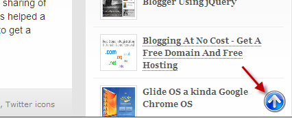 Go to top floating button for blogger
