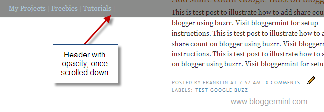 header with opacity for blogger