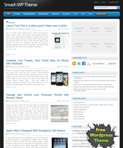 Smash free premium wordpress theme