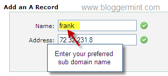 Configure sub domain for tumblr blog