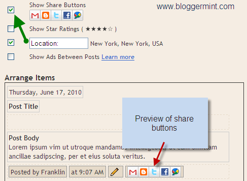 blogger launched share button