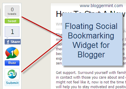 Floating Social Bookmarking Widget for Blogger