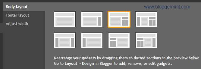 layout in blogger template designer