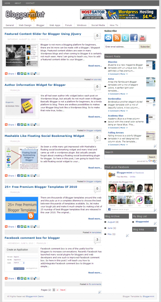 Bloggermint blogger template demo
