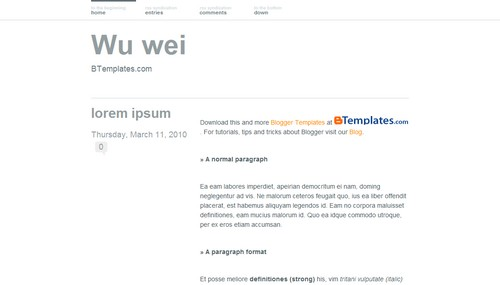 Wu-wei blogger template