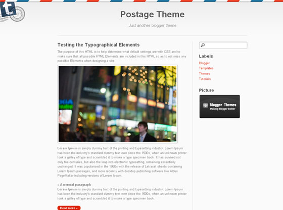 postage blogger template