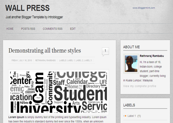wallpress blogger template