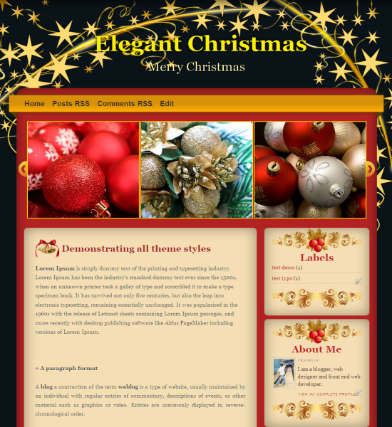 elegant christmas blogger template