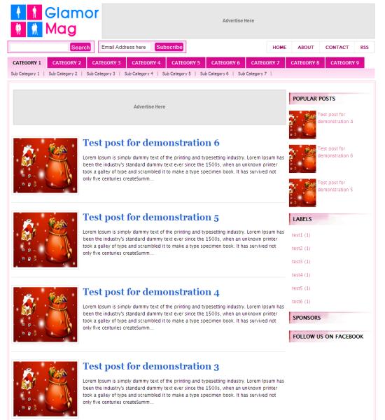 glamor mag blogger template