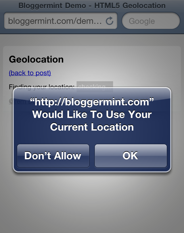 detect geolocation with html5