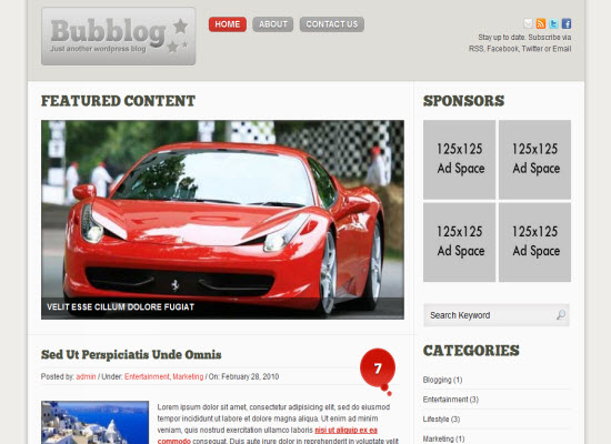 bubblog wordpress theme