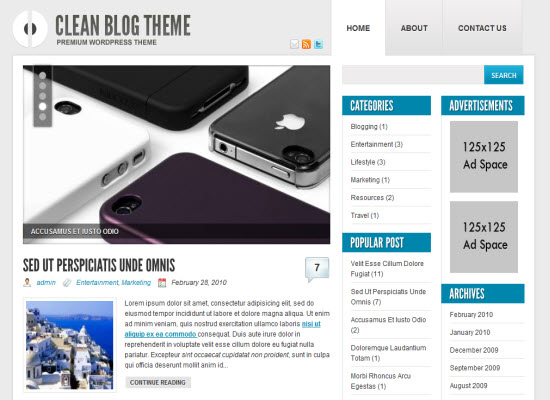 clean blog theme wordpress theme
