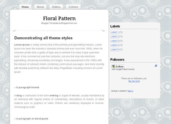 floral pattern minimal and elegant blogger template