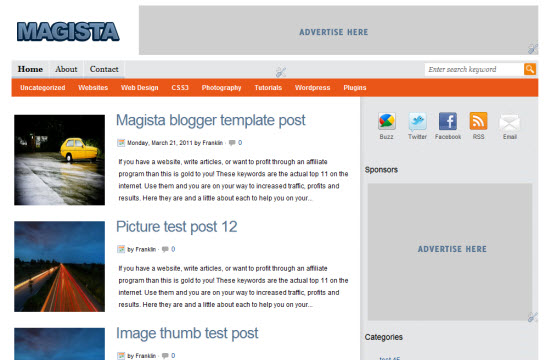 magista blogger template