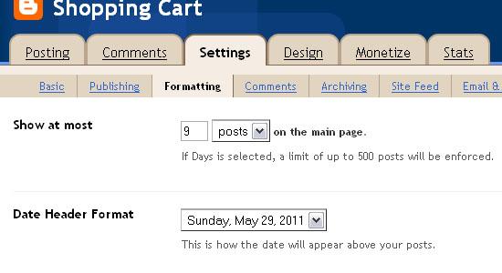 Shopping Cart Blogger Template