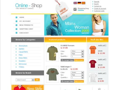 online shop oscommerce template