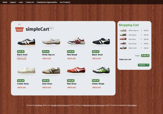 simplecart wordpress ecommerce theme