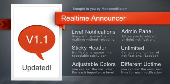 live announcements bar php script