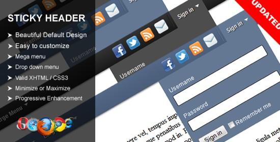 sticky header for WordPress