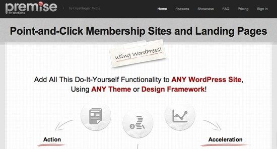 premise wordpress landing page