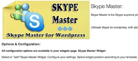 Skype wordpress plugin